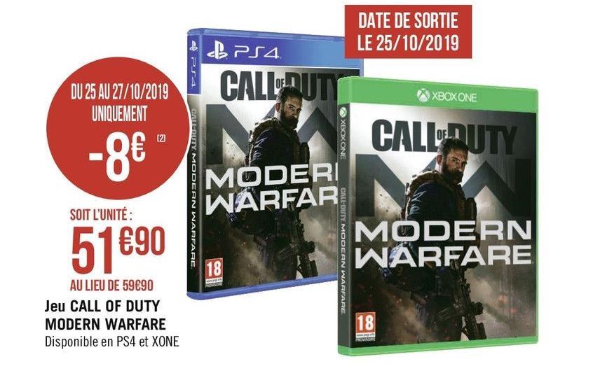 Call of Duty: Modern Warfare sur PS4 ou Xbox One (+10€ en bon d'achat - Via Casino Max)