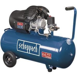 Compresseur d'air horizontal Scheppach HC100DC - 100 L, 3CV, 8 bars, Double cylindre à moteur lubrifié