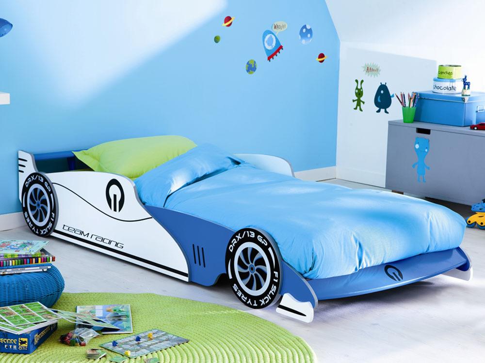 Lit Enfant Voiture Grand prix - Bleu, 90 x 190/200 cm (-10€ dès 100€ d'achat avec le code KDO10)