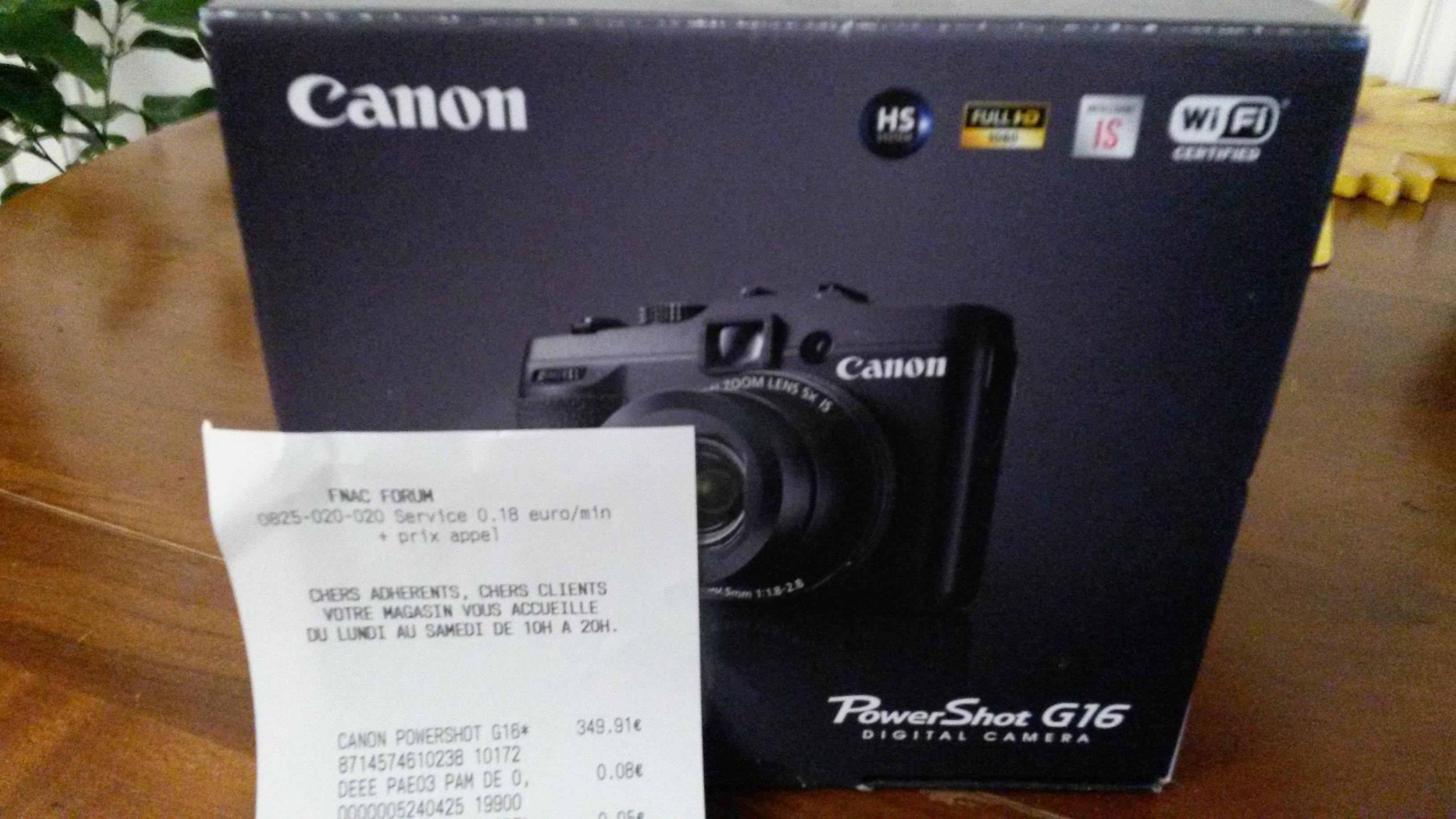 """Compact 12,1 Mpix Canon PowerShot G16  Écran LCD 3"""" Zoom optique 5X Noir"""