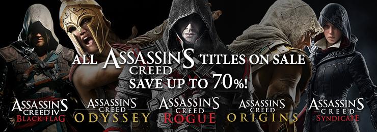 Jusqu'à 70% de réduction sur toute la licence Assassin's Creed sur PC (Dématérialisé - Uplay)