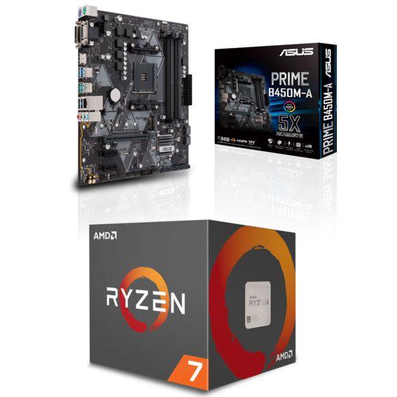 Kit d'évolution PC - Processeur Ryzen 7 2700 + carte-mère Asus B450M-A
