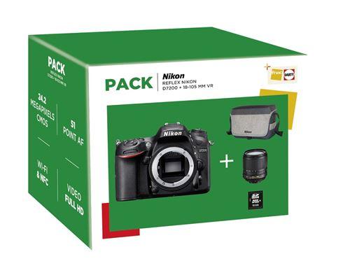 Pack Appareil Photo Reflex Nikon D7200 + Objectif AF-S DX Nikkor 18-105mm f/3.5-5.6G ED VR + Fourre-tout + Carte mémoire SDHC 16 Go
