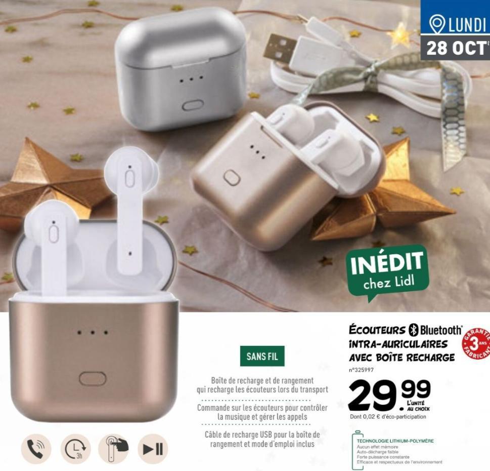 Écouteurs intra-auriculaires sans-fil - Bluetooth, Blanc
