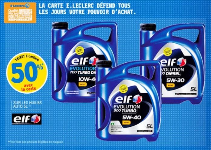 50% crédités via la carte fidélité sur les bidons huiles moteur ELF 5L (tous grades et carburants) - Leclerc Auto