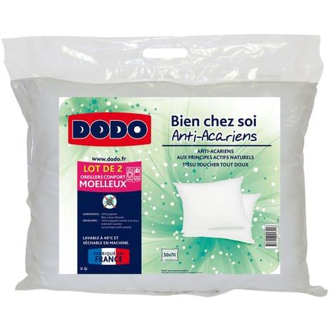Lot de 2 oreillers en microfibre anti-acariens Dodo Bien Chez Soi - 50 x 70 ou 60 x 60