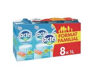 Pack de 8 bouteilles de Lait Lactel demi-écrémé (8 x 1 L)