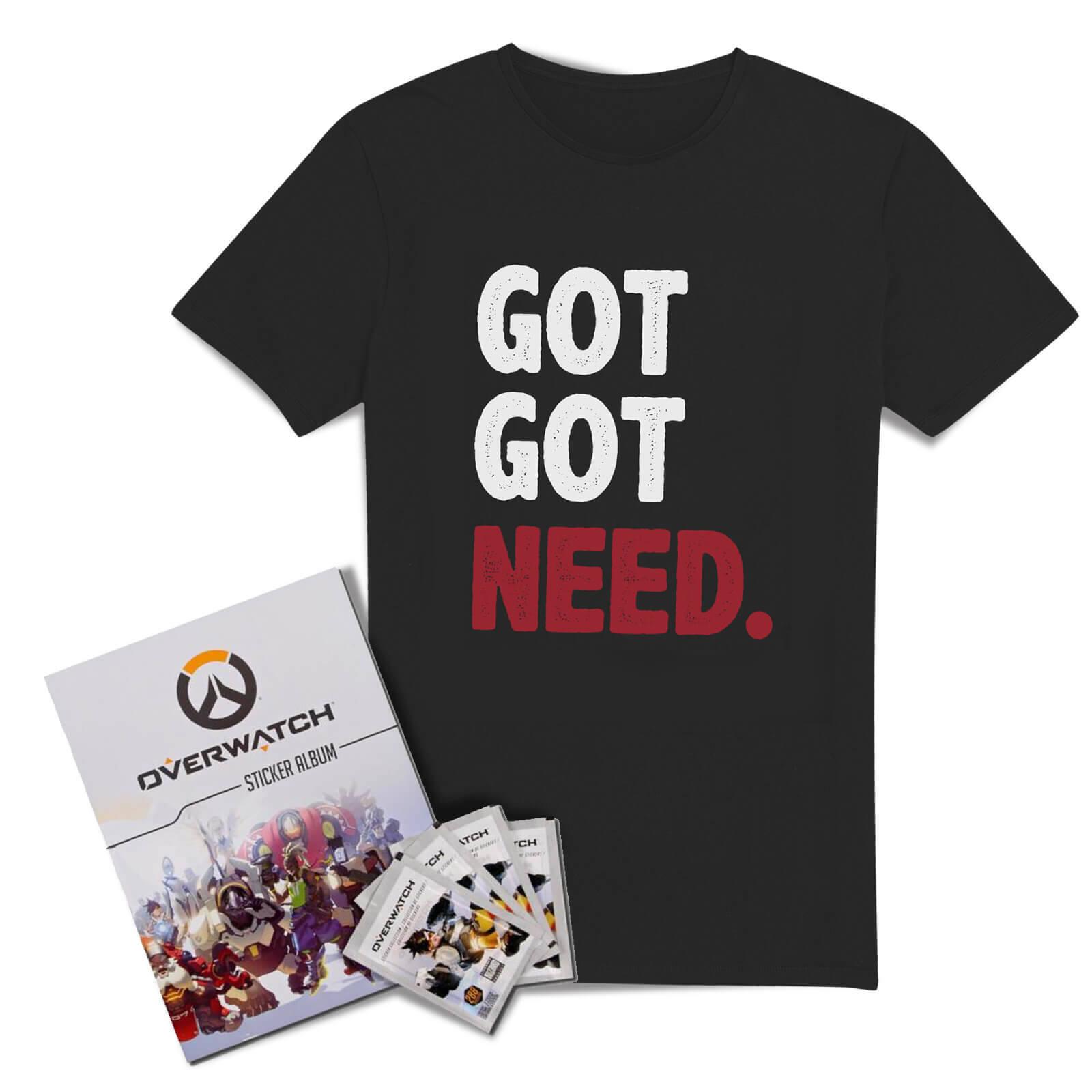 Pack Overwatch : 1 T-Shirt officiel (pour adulte ou enfant) + L'album de stickers collector + 50 packs d'autocollants