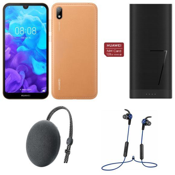 "Smartphone 5.71"" Huawei Y5 2019 (Marron) + Carte Nano SD 128 Go + Enceinte bluetooth + Écouteurs sans fil + Batterie 6700 mAh (Via ODR 30€)"