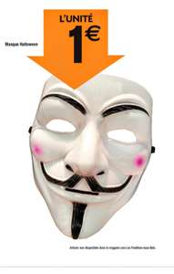 Masque Halloween Guy Fawkes /  V for Vendetta   (Anonymous)