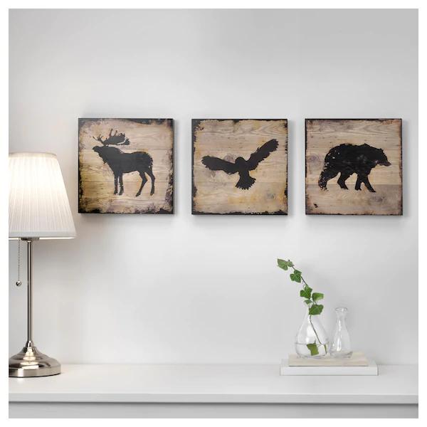 [Ikea Family] Lot de 3 Cadres Björnamo  animaux - 25x25 cm