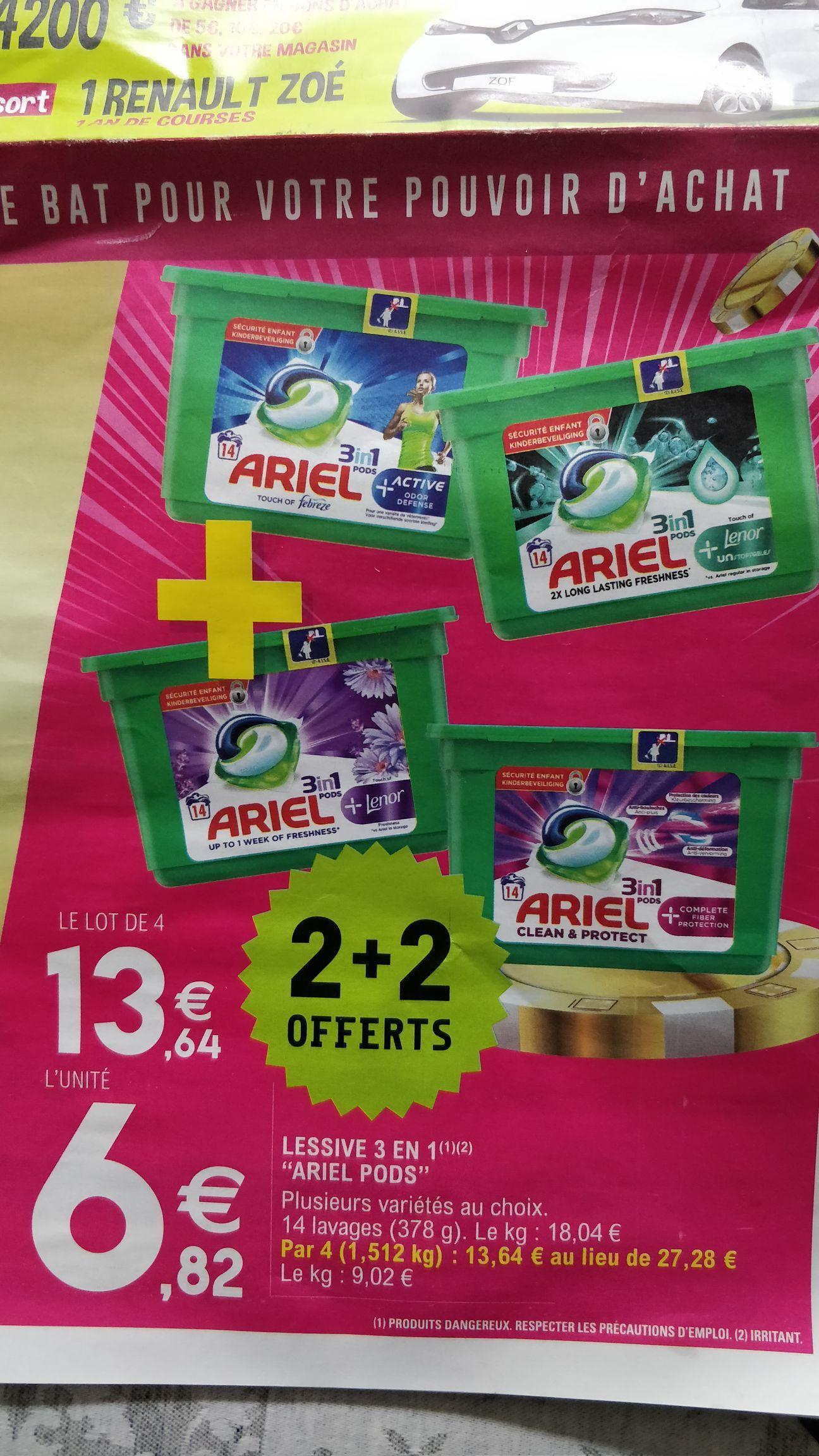 Lot de 4 boîtes de Lessive 3 en 1 Ariel Pods - Plusieurs variétés au choix (4 x 378 g)