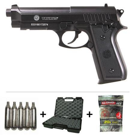 Réplique Pistolet Taurus PT92 Co2 M9 Full Metal (210307) + 5 Cartouches Co2 + Malette de Transport + 5000 Billes 0.20g