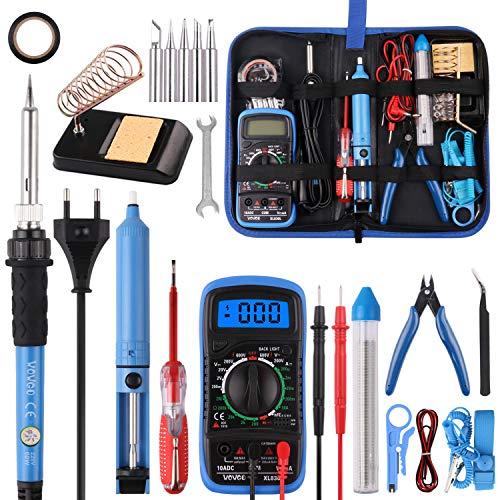 Kit fer à souder électrique Wowgo avec avec Multimètre Numérique, Support de fer à Souder, Pompe à Dessouder et Sac à Outils (Vendeur Tiers)