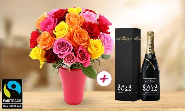 Livraison bouquet de 25 roses + Bouteille de Champagne Moët et Chandon Grand Vintage 2012
