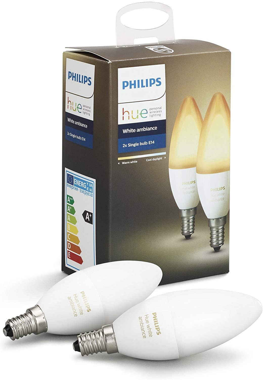 Pack de 2 Ampoules connectées Philips Hue White Ambiance E14 LED