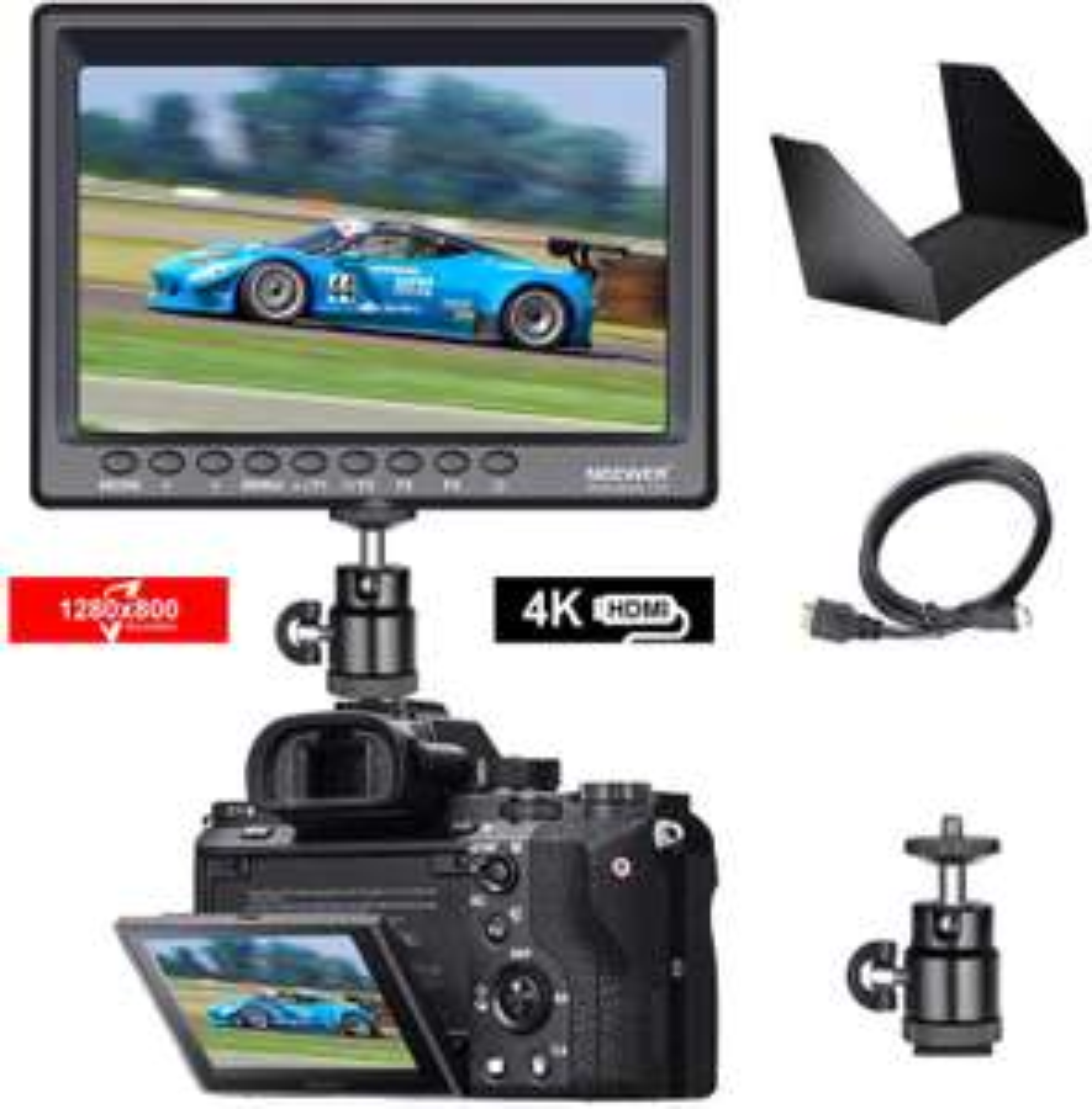 """Moniteur pour appareil photo 7"""" Neewer F100 - avec accessoires (vendeur tiers)"""