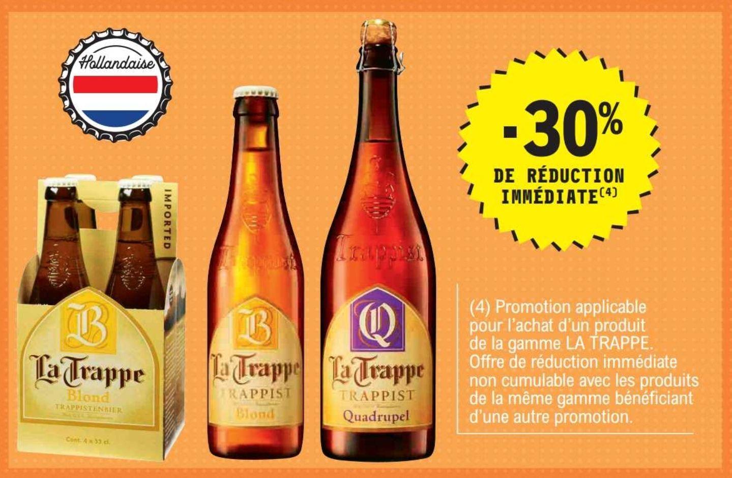 30% de réduction sur la gamme de bières La Trappe - Ex : Bière La Trappe Quadrupel - 75 cl