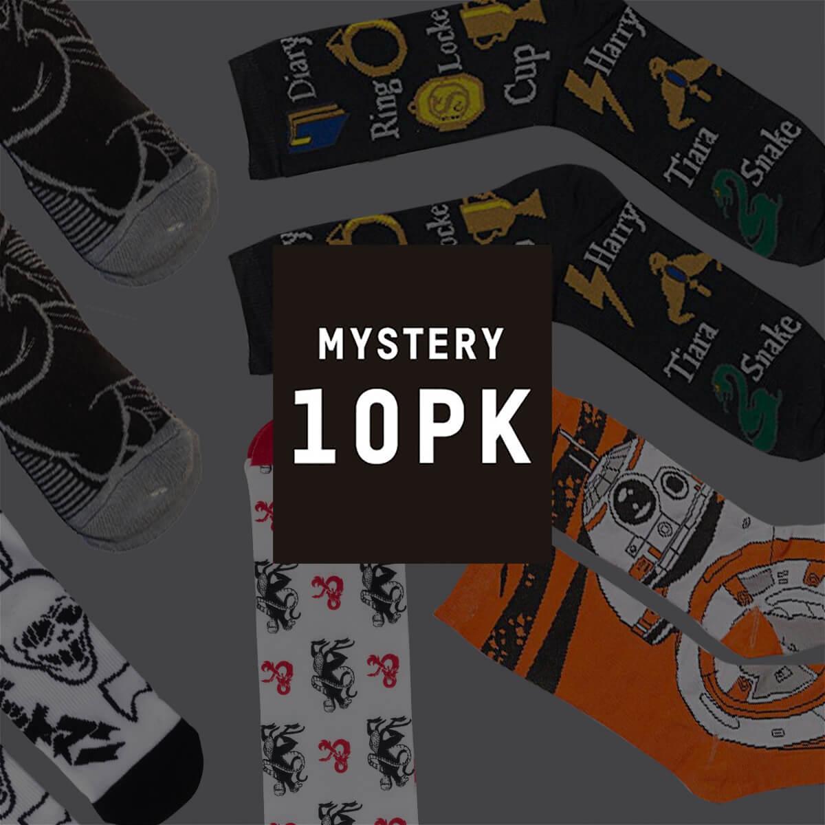 """Pack de 10 paires de chaussettes """"Geek Mystères"""" (Rick & Morty, Harry Potter, Marvel, Star Wars,...)"""
