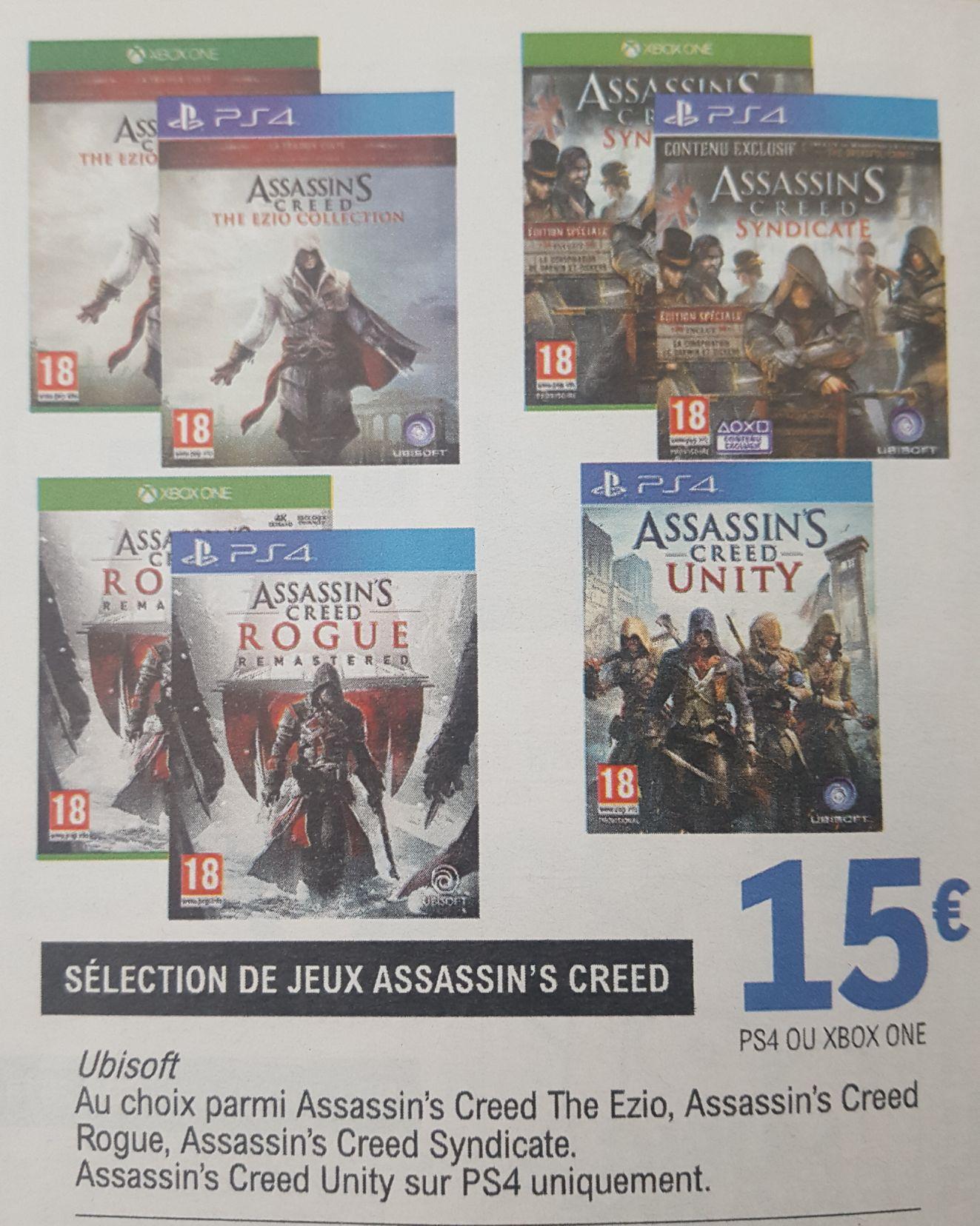 Sélection de jeux Assassin's Creed à 15€ - Ex: Assassin's Creed Ezio Collection ou Rogue Remastered