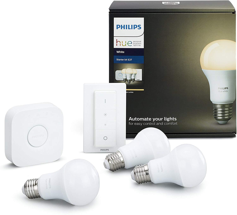 Kit de démarrage Philips Hue : 3 ampoules E27 Blanc + Pont + Variateur