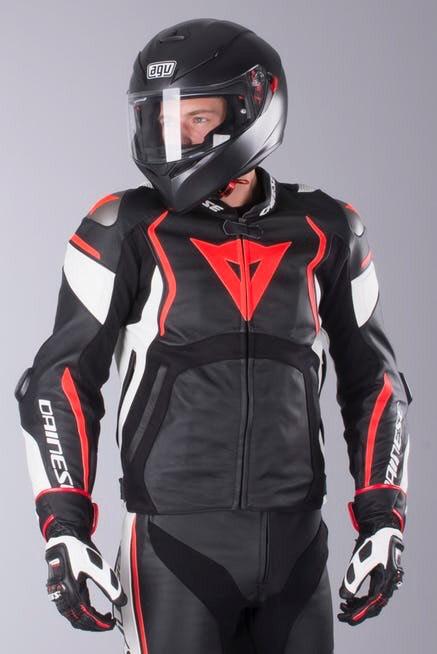 Blouson moto en cuir Dainese Mugello - Noir et Rouge (taille au choix)