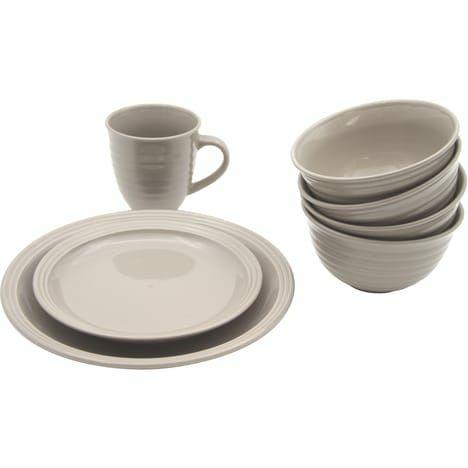 Service d'assiettes en grès Lisa - 16 pièces, Gris
