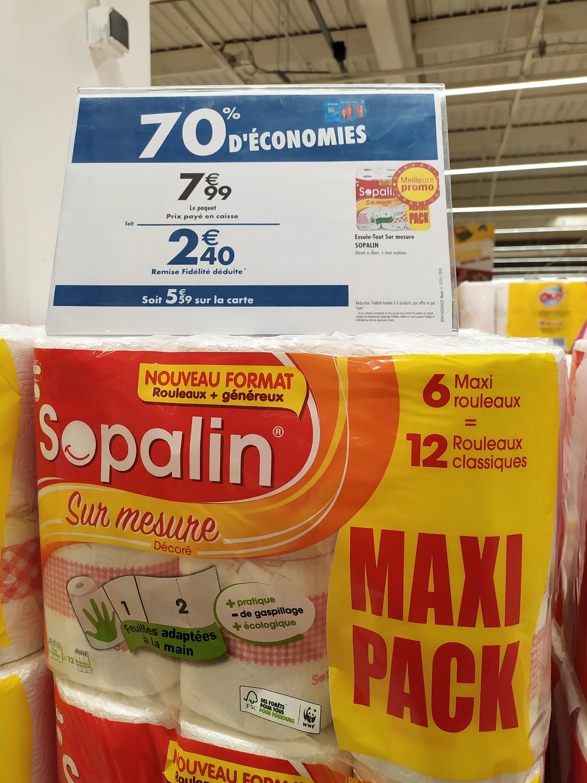 Paquet 6 maxi-rouleaux de Sopalin Sur Mesure Décoré (via 5.59€ sur la carte de fidélité) - Lille (59)