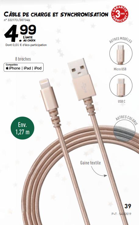 câble de recharge et synchronisation compatible iPhone - 1,27m