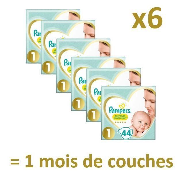 6 Paquets de 44 couches Pampers - Plusieurs tailles