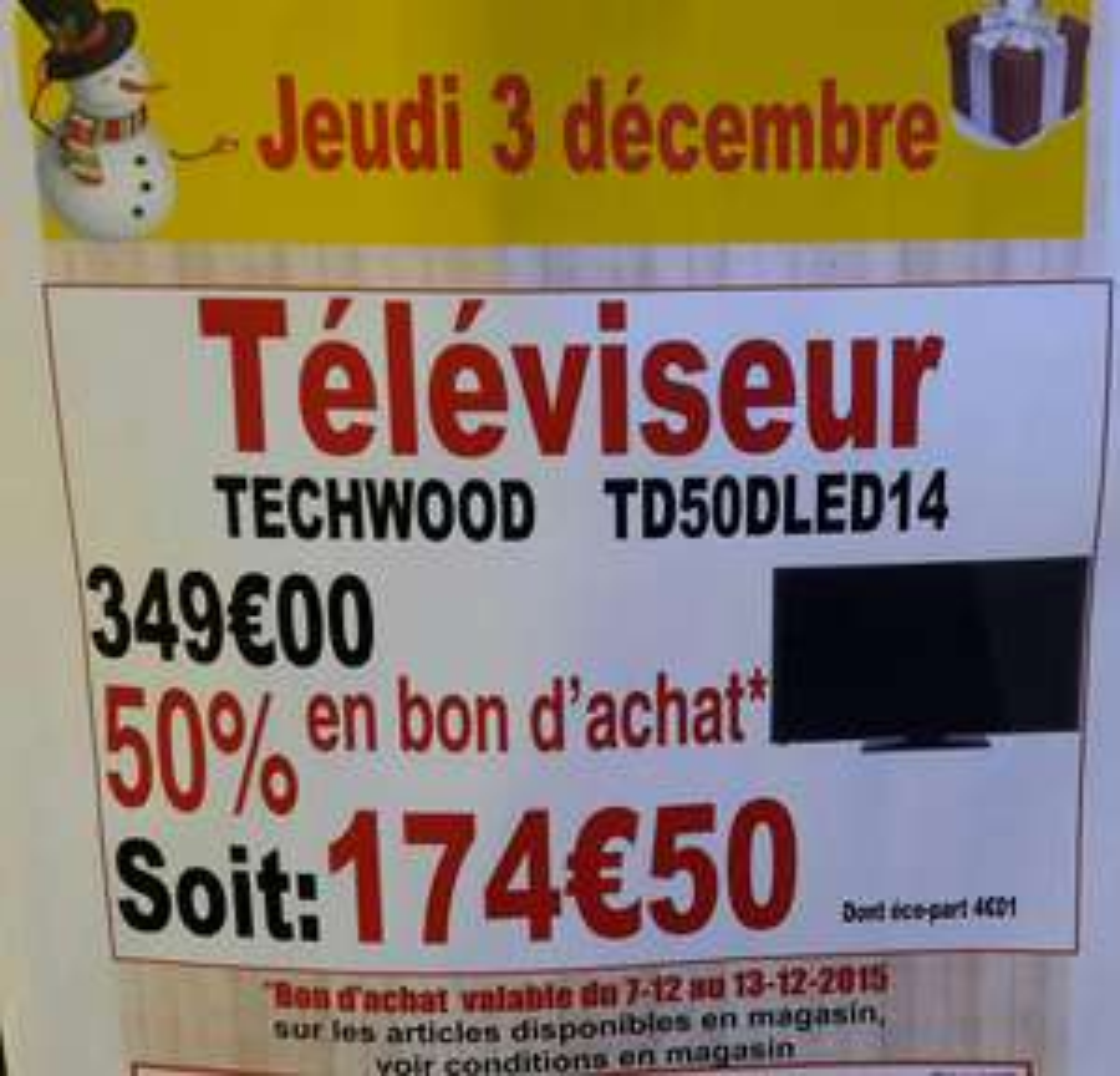 "TV 50"" Techwood TD50DLED14 (avec 174,50€ en bon d'achat)"