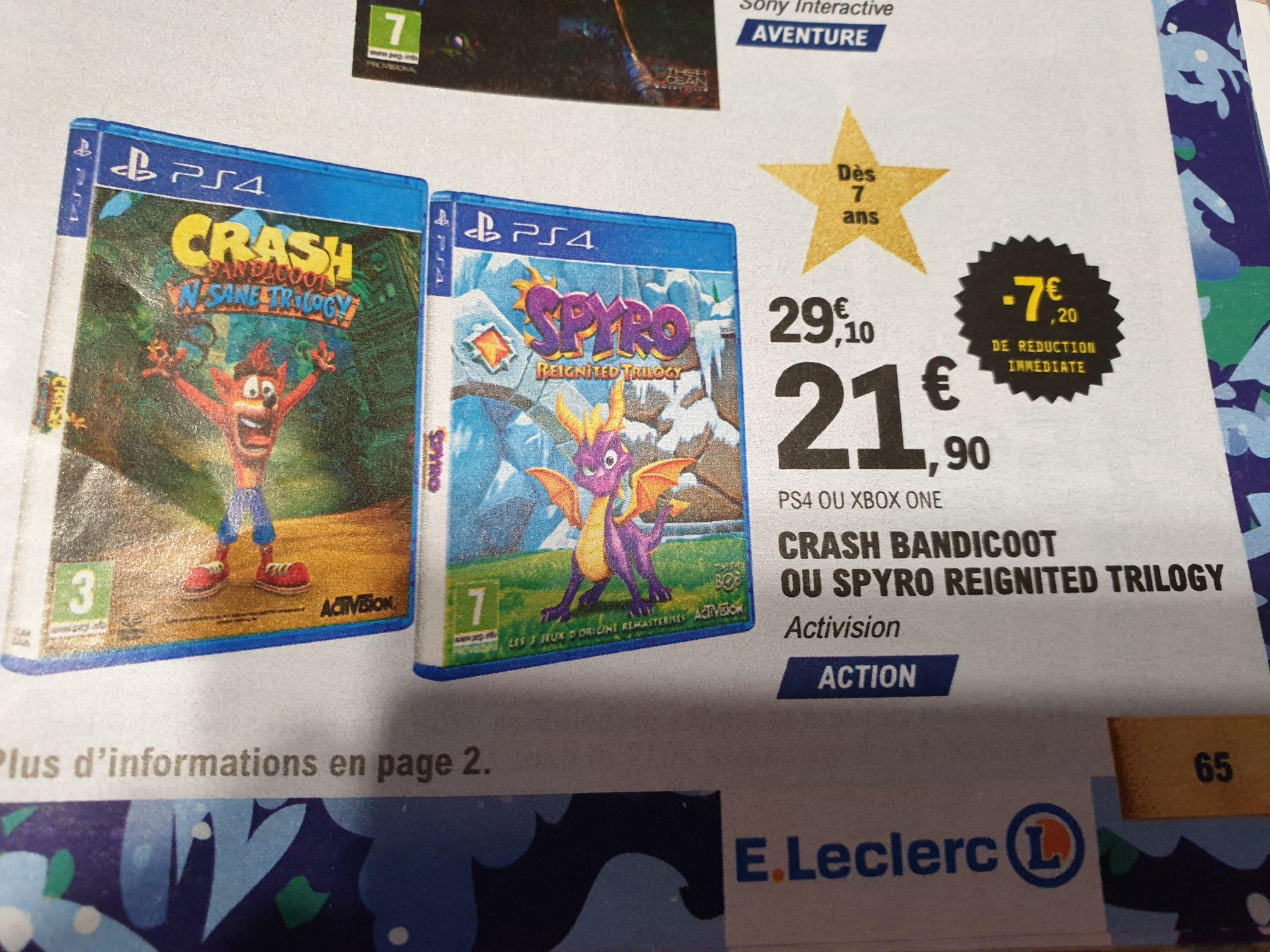 Crash Bandicoot ou Spyro Reignited Trilogy sur PlayStation 4