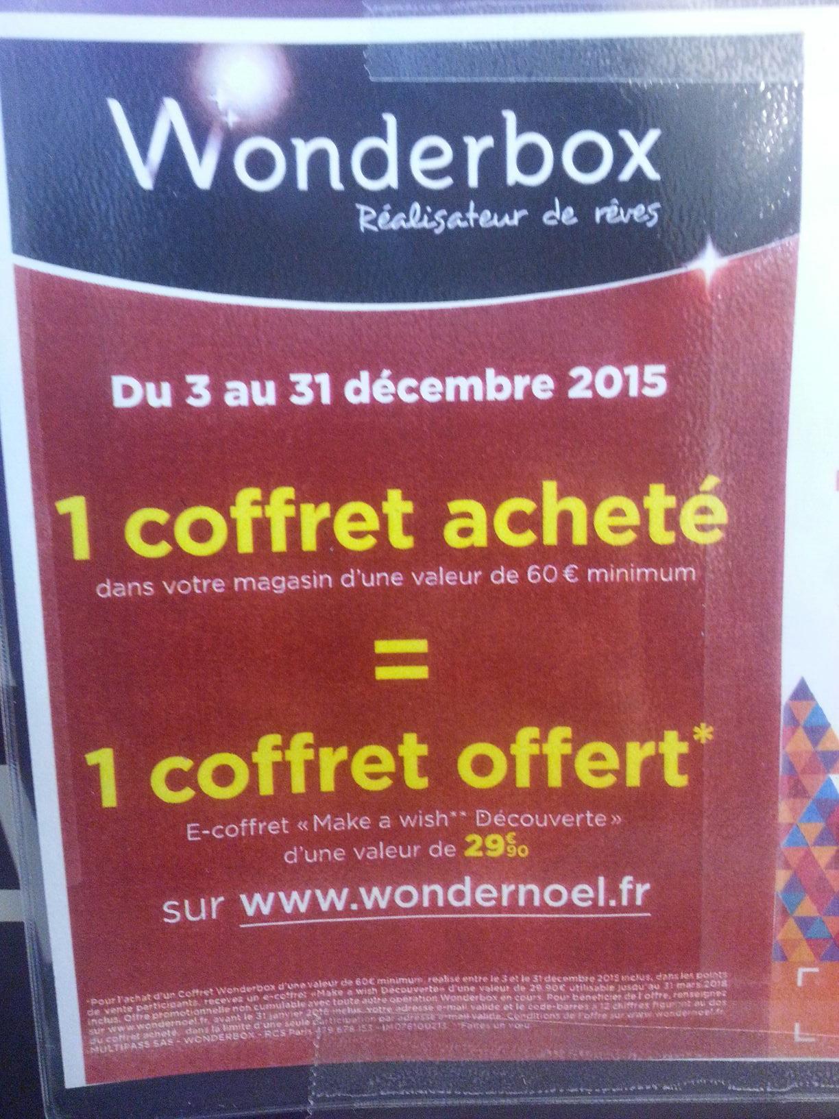 Un coffret Wonderbox offert (valeur de 29,90€) pour l'achat d'un coffret à 60€ minimum