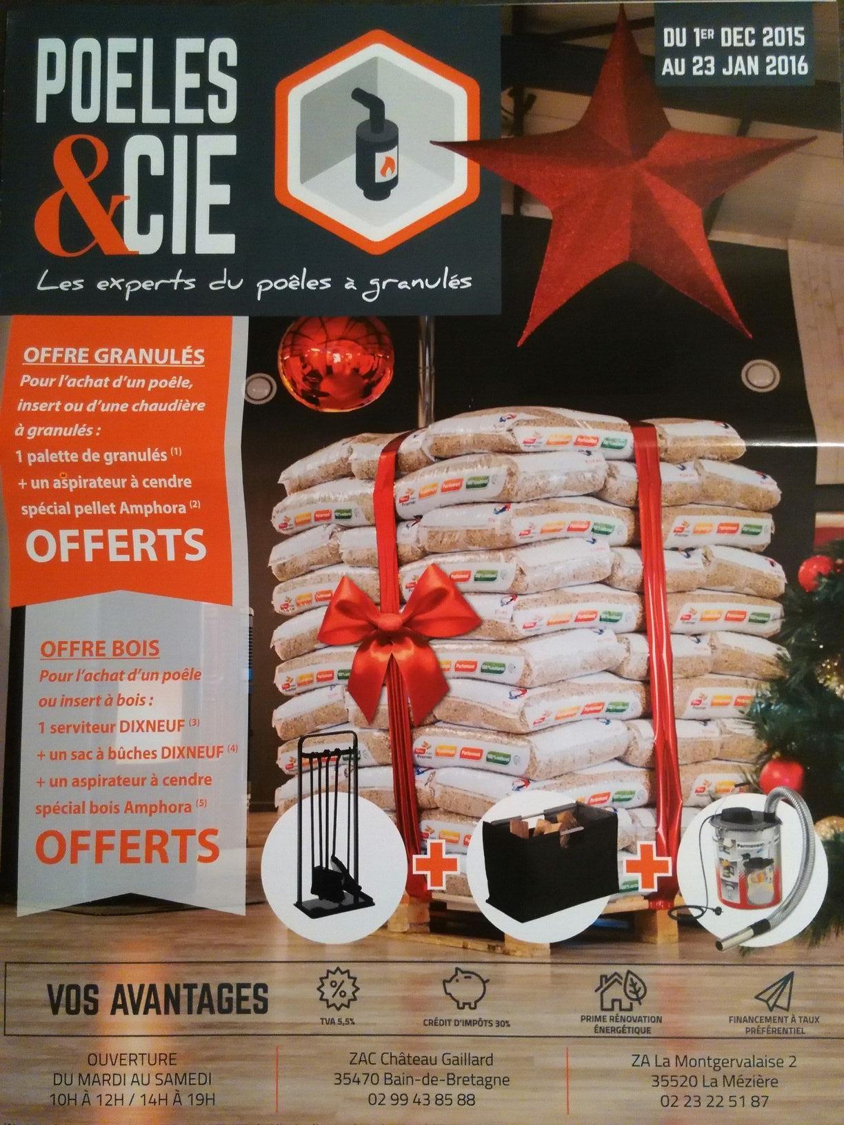 3 cadeaux (Aspirateur, sac à buches...) offerts pour l'achat d'un poêle à bois