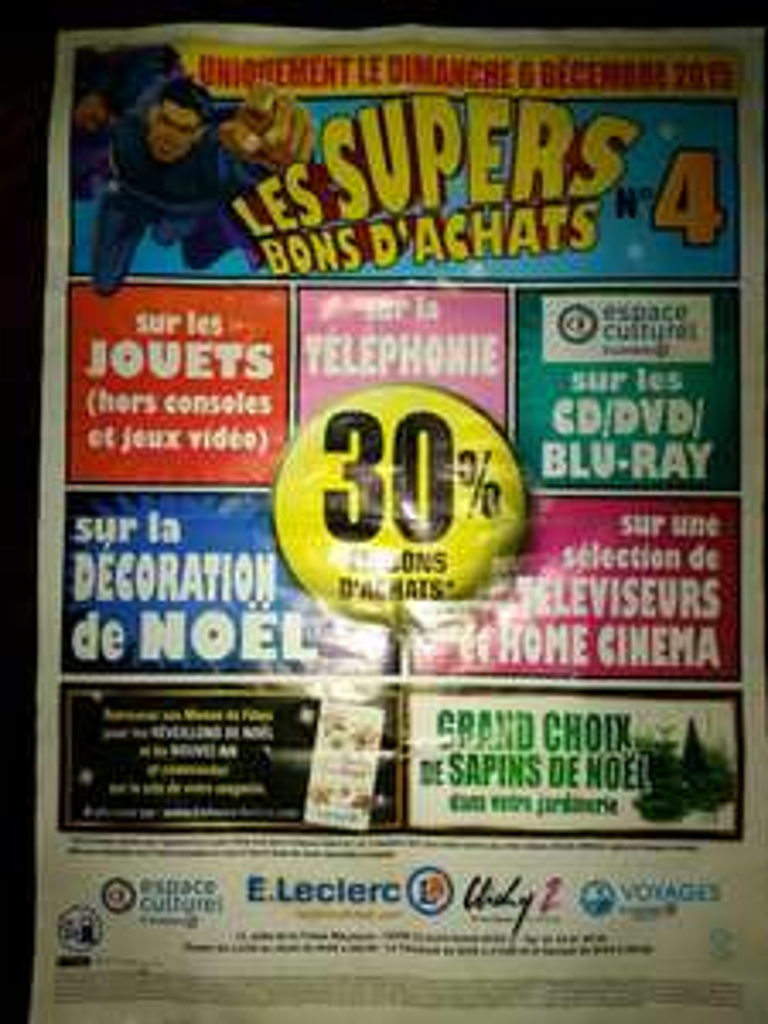 30% offerts en bons d'achat sur une sélection de rayons (téléphonie, jouets, ...)
