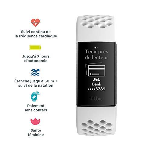 Bracelet d'activité Fitbit Charge 3 Graphite / Blanc