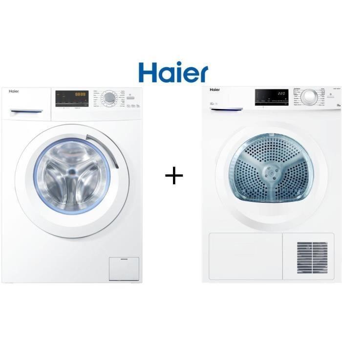Pack lavage Haier : Lave-linge W8436 (8 kg, 1400 tours/min, A+++) + Sèche-linge D836W (8 kg, Classe B)