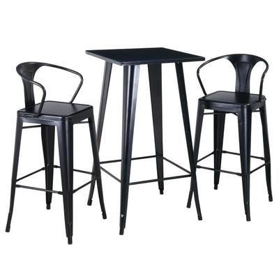 Ensemble RIchmond Style Industriel en Métal Noir - Table Haute + 2 Chaises Hautes (+ Offre Spéciale Eventuelle)