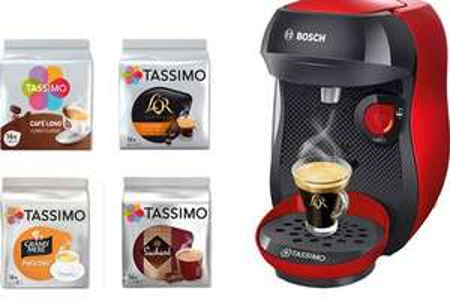 Cafetière à dosette Bosch Tassimo Happy (Rouge) + 4 packs TDiscs
