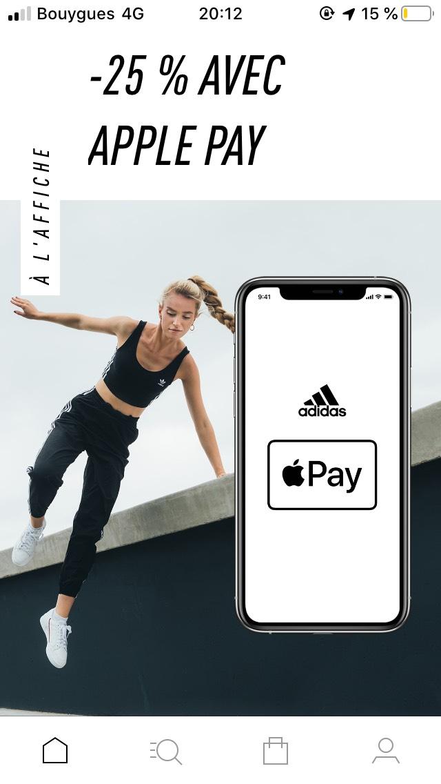 -25% sur l'application Adidas en payant avec ApplePay