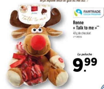 "Renne en peluche ""Talk to me"" + 40 g de chocolat (Fairtrade)"