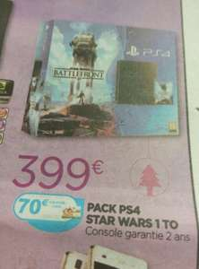 Pack Console Sony PS4 1 To + Star Wars Battlefront (avec 70€ sur la carte)