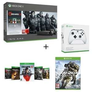 Pack Console Microsoft Xbox One X 1To + 5 Jeux Gears of War + 1 mois Xbox Live Gold / Xbox Game Pass + Ghost Recon Breakpoint + 2ème manette
