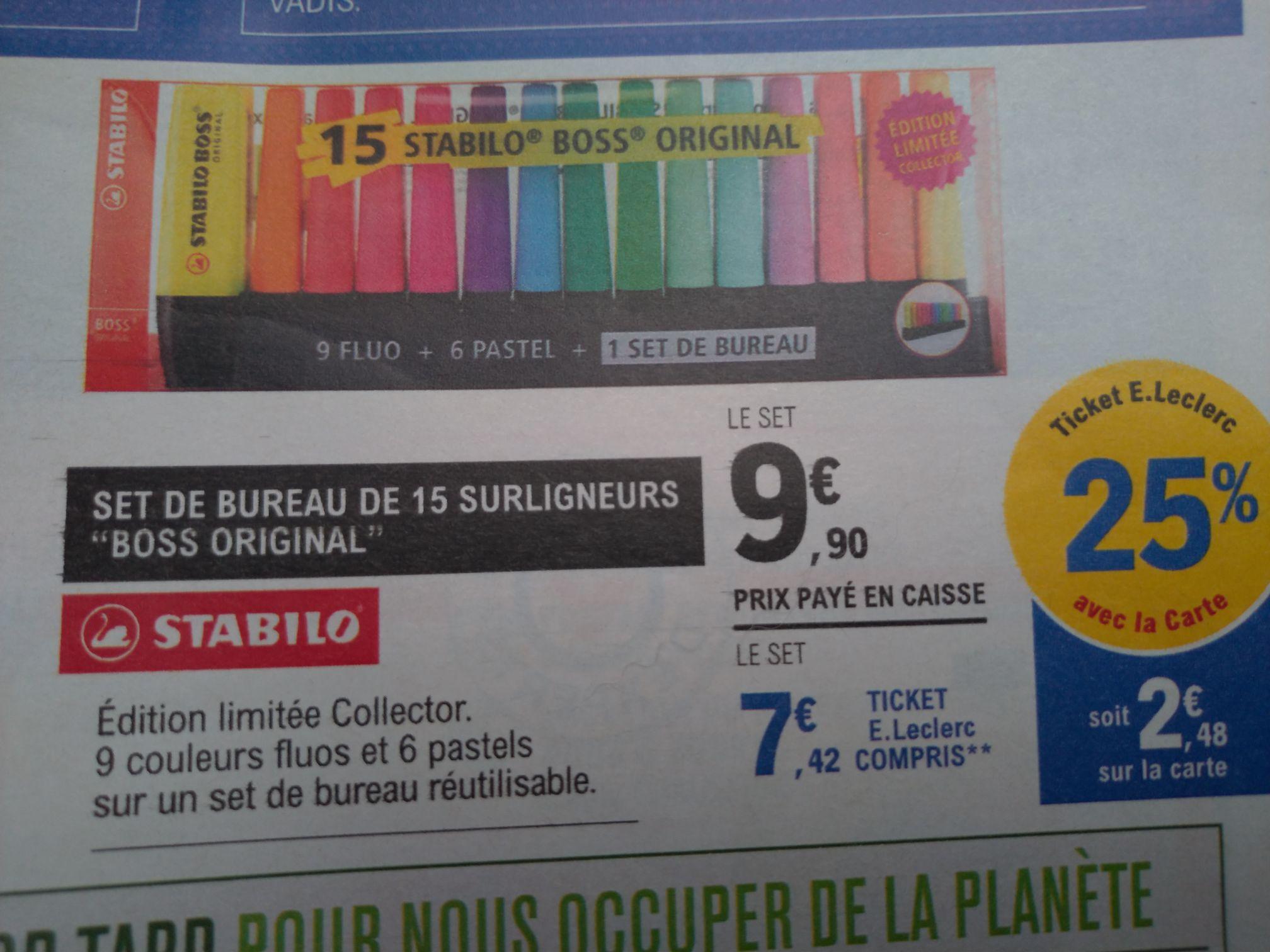Lot de 15 stabilo Boss - 9 fluo + 9 pastel avec support pour bureau (via 2.48€ sur la carte fidélité)