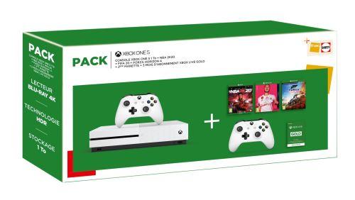 Pack Console Microsoft Xbox One S + NBA 2K20 + Fifa 20 + Forza Horizon 4 + 2ème manette + 3 mois d'abonnement Xbox Live Gold