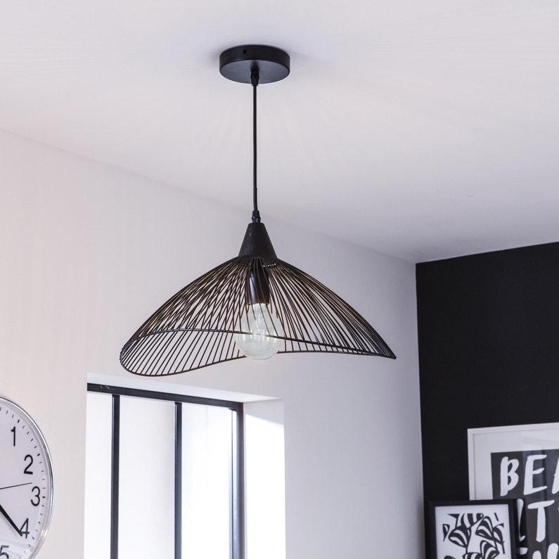 Lustre à suspension Seynave Kasteli - E27, métal noir, 40W
