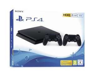 Pack Console Sony PS4 Slim - 1 To (Noir) + 2 Manettes DualShock 4 (Noir)