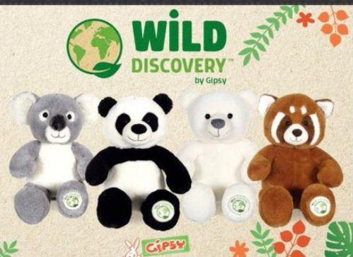 Peluche Wild Discovery 47 cm - (Panda / Panda roux / Ours polaire / Koala)