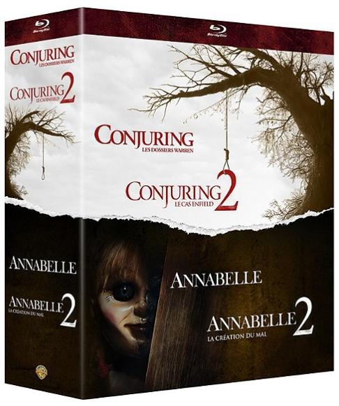 Coffret Blu-ray : 4 Films d'horreur : Annabelle 1 et 2 ; Conjuring 1 et 2