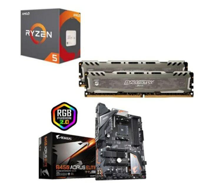 Processeur AMD Ryzen 5 2600 + Kit Mémoire RAM Ballistix Sport LT 8 Go (2x4), 2666Mhz, CL16 + B450 Aorus Elite